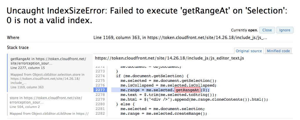 Source maps support :: Errorception - Painless JavaScript Error Tracking